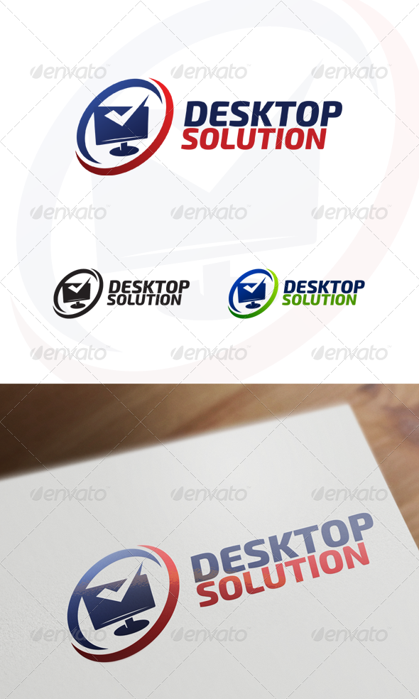 Desktop Solution - Computer & Internet Logo - Objects Logo Templates