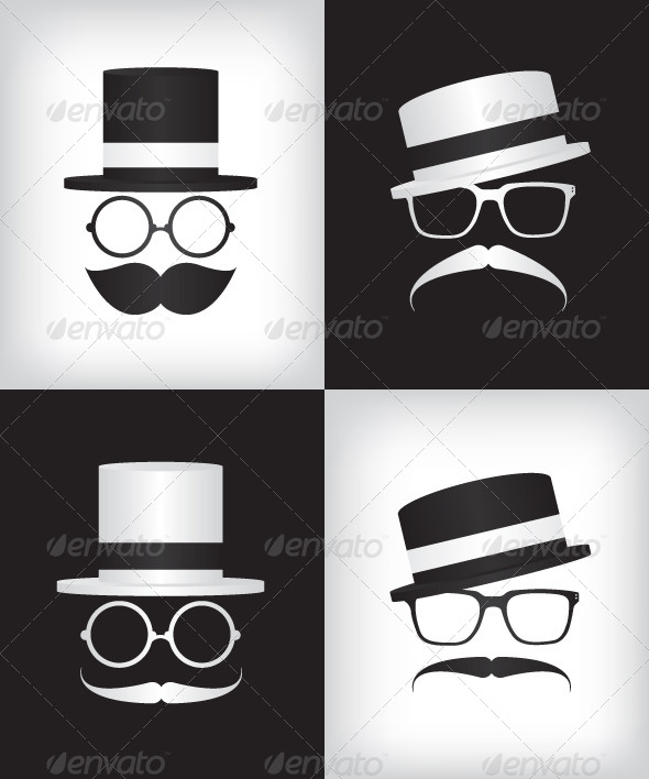 Hipster and Gentleman Illustration - People Characters