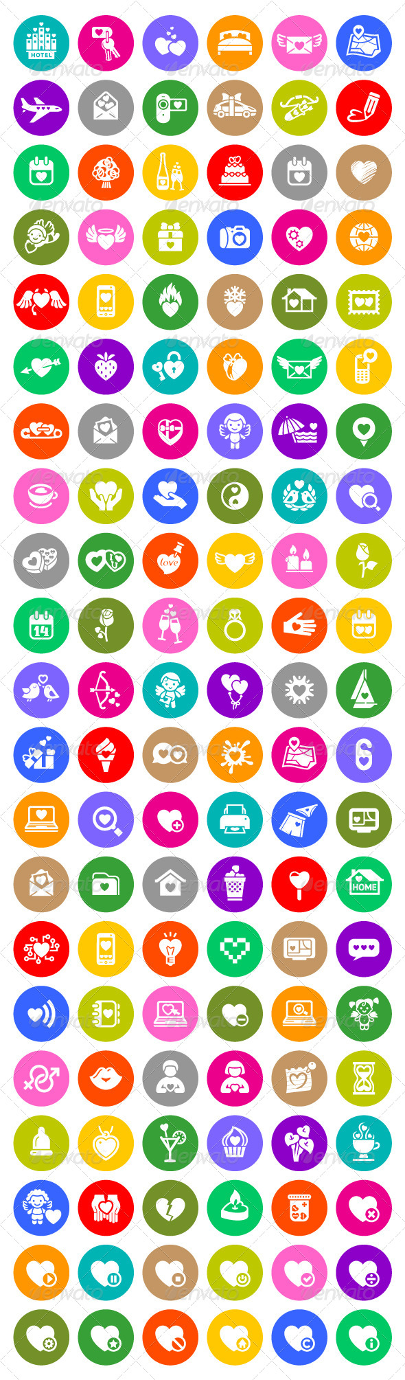 126 Valentine's Day Colorful Icons - Miscellaneous Icons