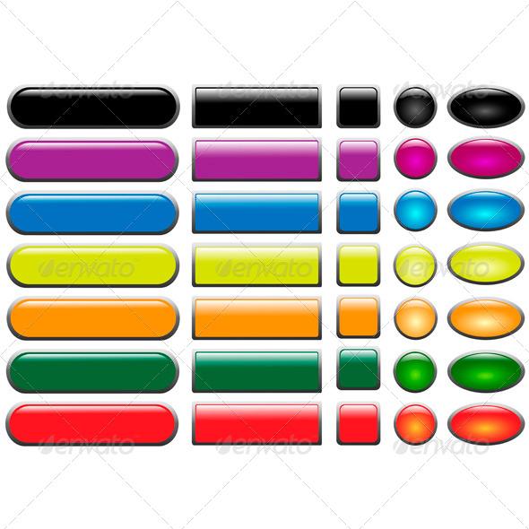 Set of Colored Web Buttons - Web Elements Vectors