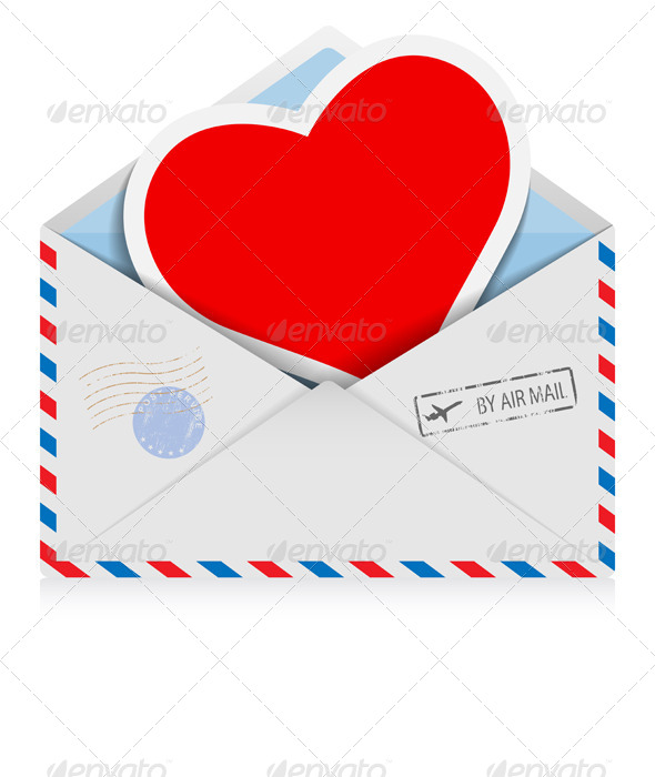 Postal Envelope with Heart - Valentines Seasons/Holidays