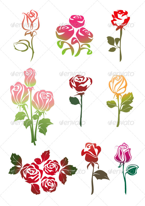Icons Set of Colored Roses - Flowers & Plants Nature