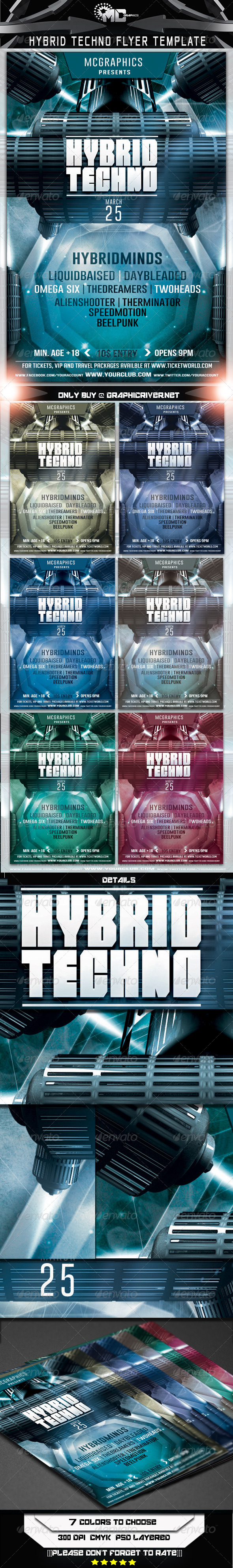 Hybrid Techno Flyer Template - Flyers Print Templates
