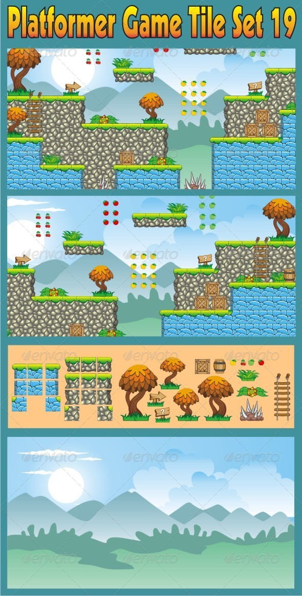 Platformer Game Tile Set 19 - Tilesets Game Assets