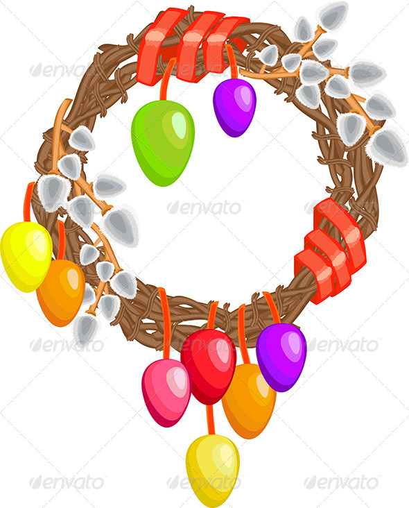 Easter Wreath with Willows, Eggs and Ribbon - Borders Decorative