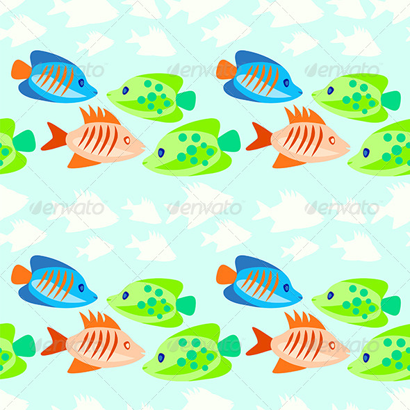 Colored Fish Seamless Pattern - Patterns Decorative