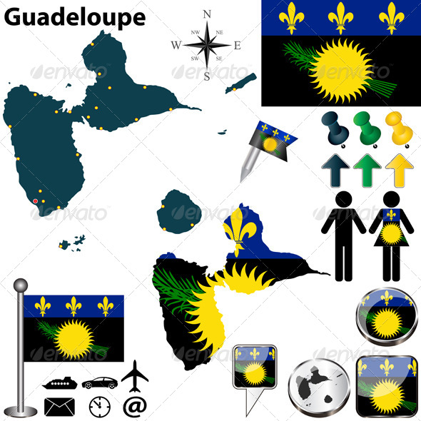 Map of Guadeloupe - Travel Conceptual