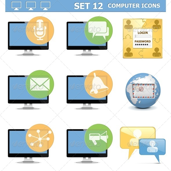 Computer Icons Set 12 - Computers Technology