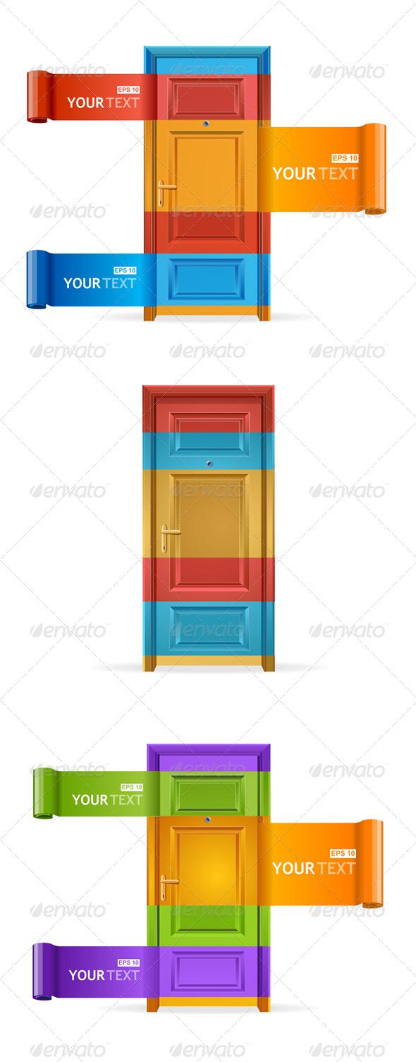 Speech Templates Like Door  - Web Elements Vectors