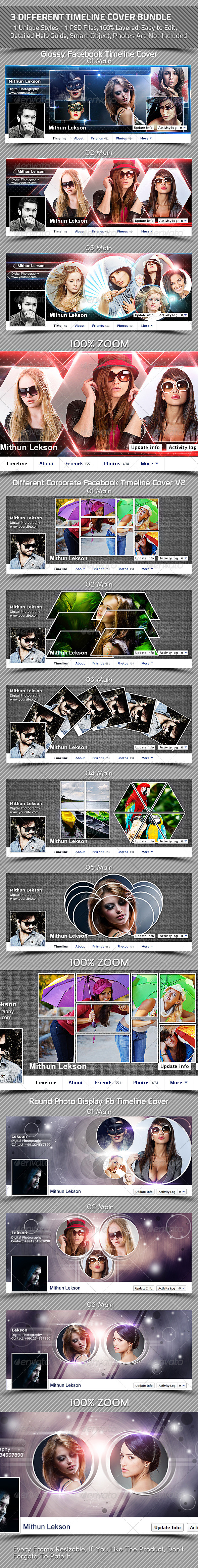 3 Different Facebook Timeline Cover Bundle - Facebook Timeline Covers Social Media