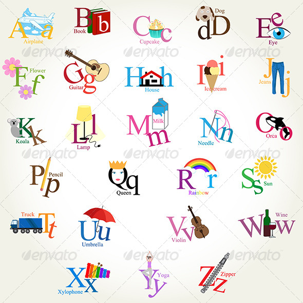 Illustrated Alphabet - Objects Vectors