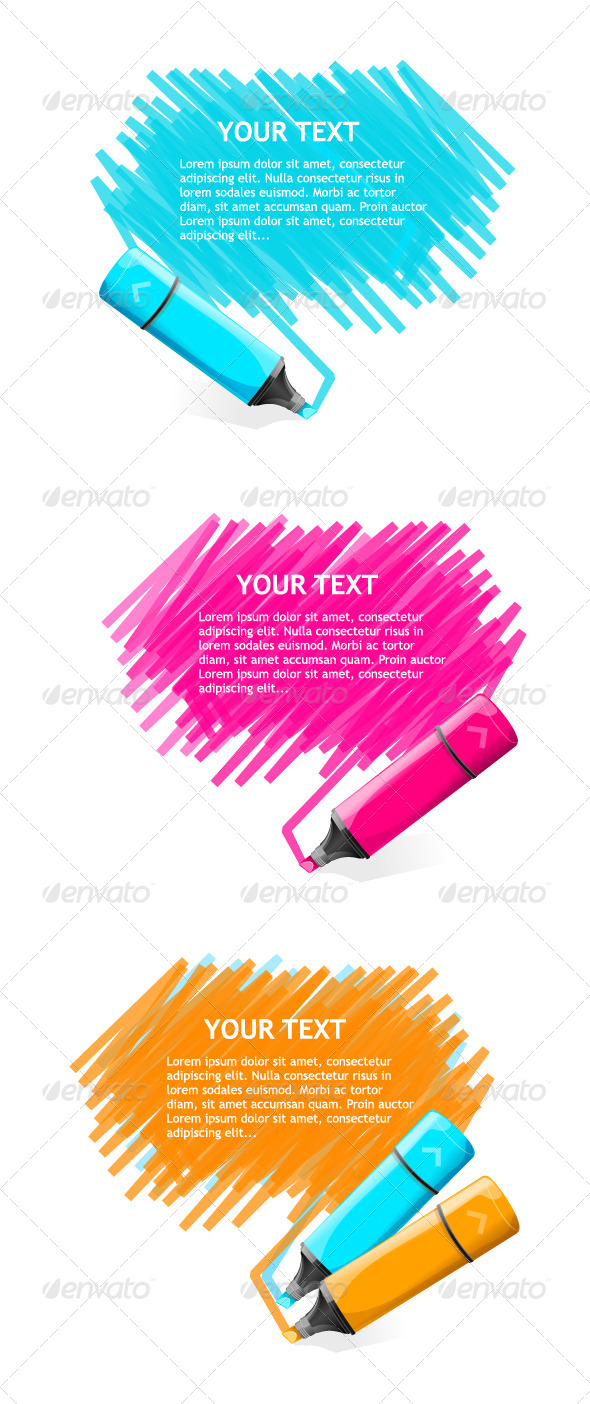 Markers Text Boxes Set - Backgrounds Decorative