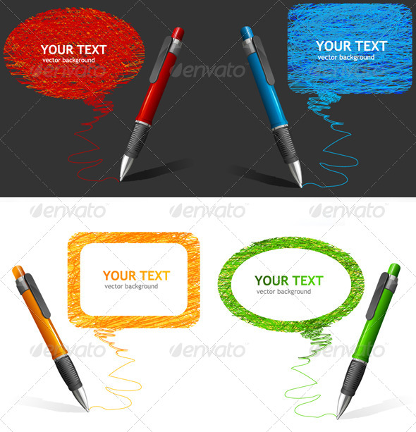 Pen Text Bubbles Set - Objects Vectors
