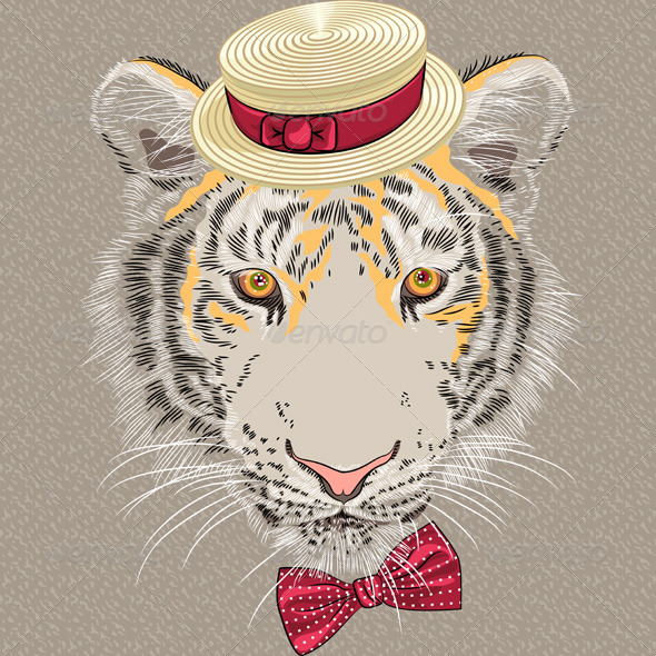 Cartoon Hipster Tiger  - Animals Characters