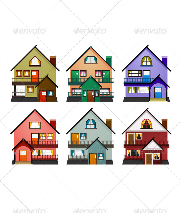 Front View of Various Modern Houses - Buildings Objects