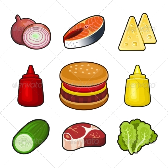 Burger Icons Set - Food Objects