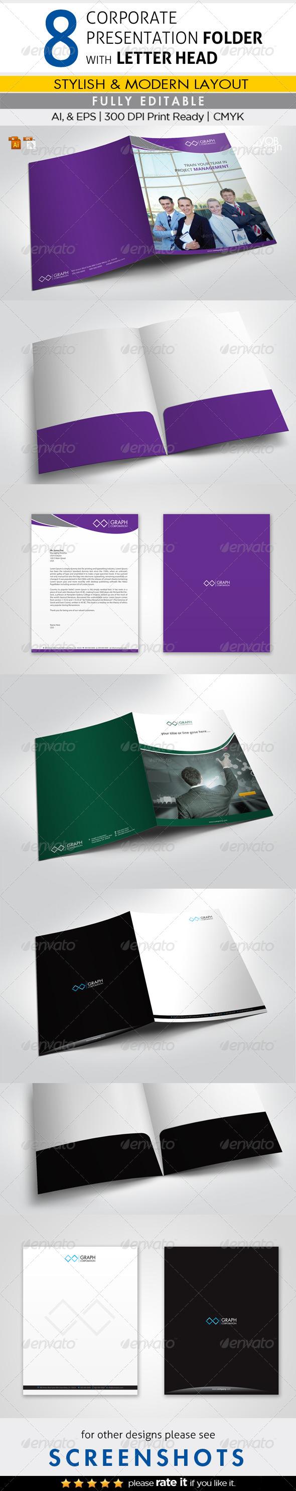 Presentation Folders with Letterheads - Stationery Print Templates