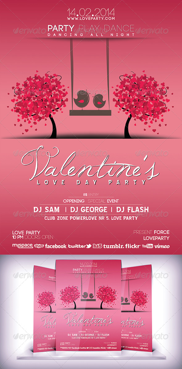 Valentines Day Party Flyer - Flyers Print Templates