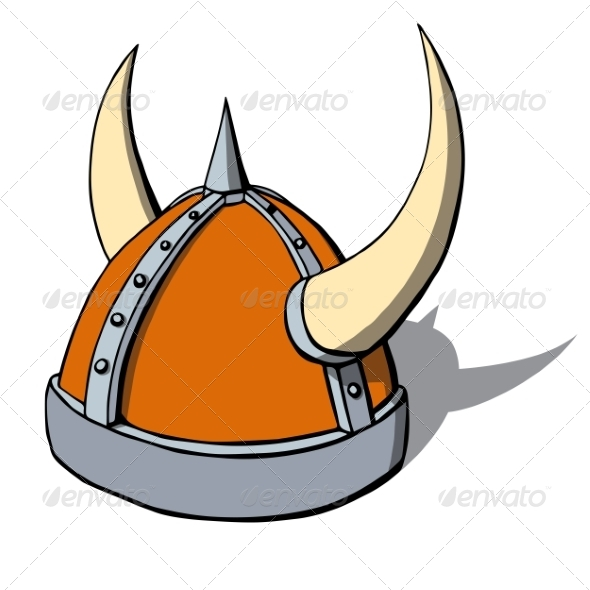 Cartoon Viking Helmet with Horns - Man-made Objects Objects