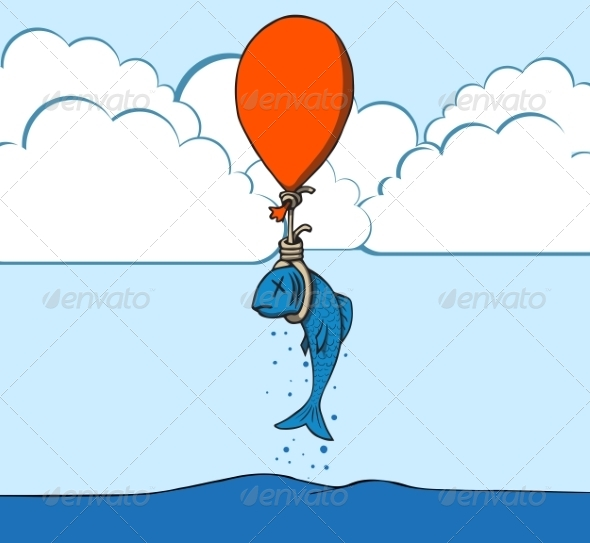 Suicide Fish with Balloon - Miscellaneous Vectors