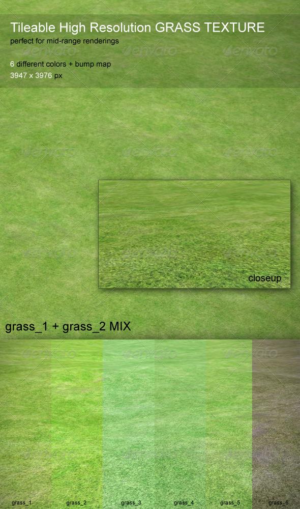 Grass Texture - Tileable, HiRes, 6 Colors - 3DOcean Item for Sale