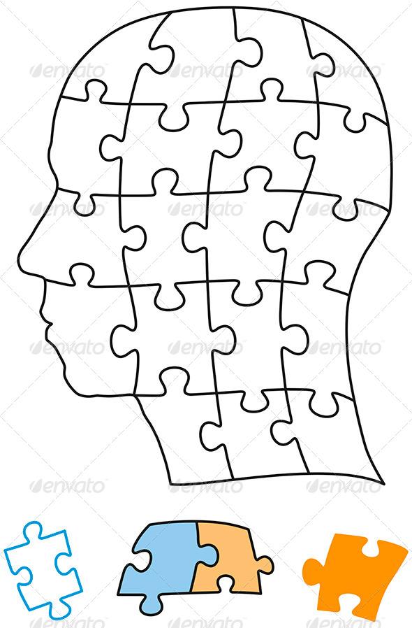 Head Puzzle Single Parts - Miscellaneous Vectors