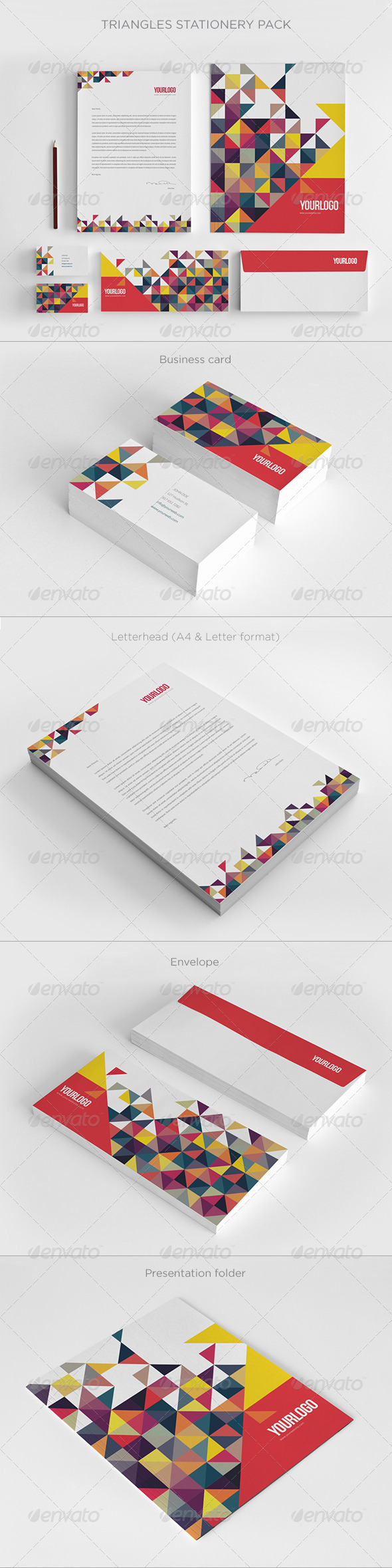 Colorful Triangles Stationery - Stationery Print Templates
