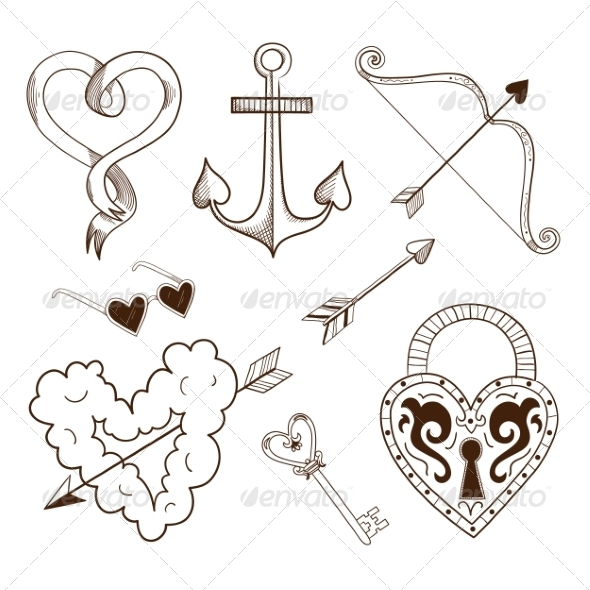 Collection of Sketch Elements  - Valentines Seasons/Holidays