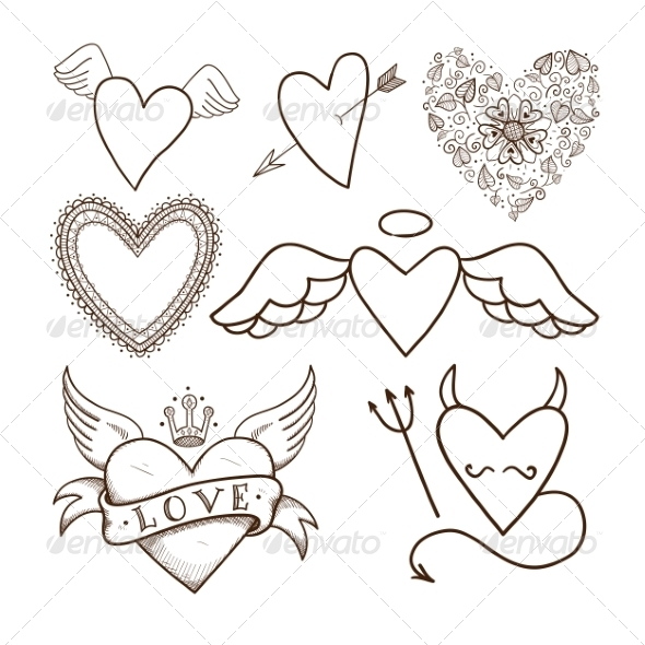 Collection of Decorative Hearts - Valentines Seasons/Holidays