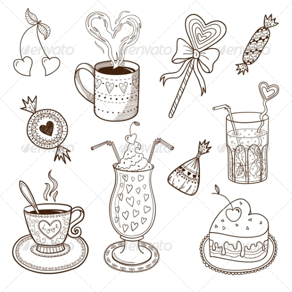 Collection of Drinks and Sweets - Food Objects