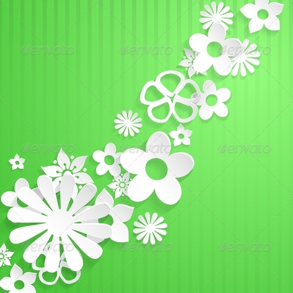 Background with Paper Flowers - Backgrounds Decorative