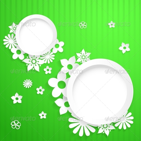 Background with Circles and Paper Flowers - Backgrounds Decorative