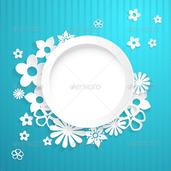 Background with Circle and Paper Flowers - Backgrounds Decorative