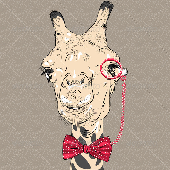 Closeup Portrait of girafe Hipster - Animals Characters