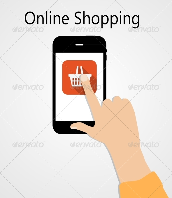 Online Shopping Flat Concept Illustration - Web Technology