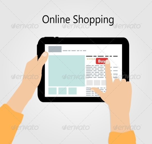 Online Shopping Flat Concept Illustration - Web Technology