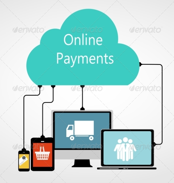 Online Payments Flat Concept Illustration - Web Technology
