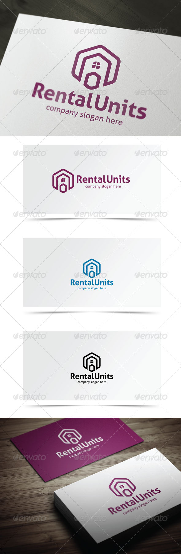 Rental Units - Buildings Logo Templates