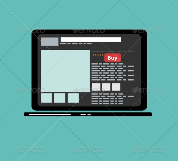Online Shopping Flat Laptop - Web Technology