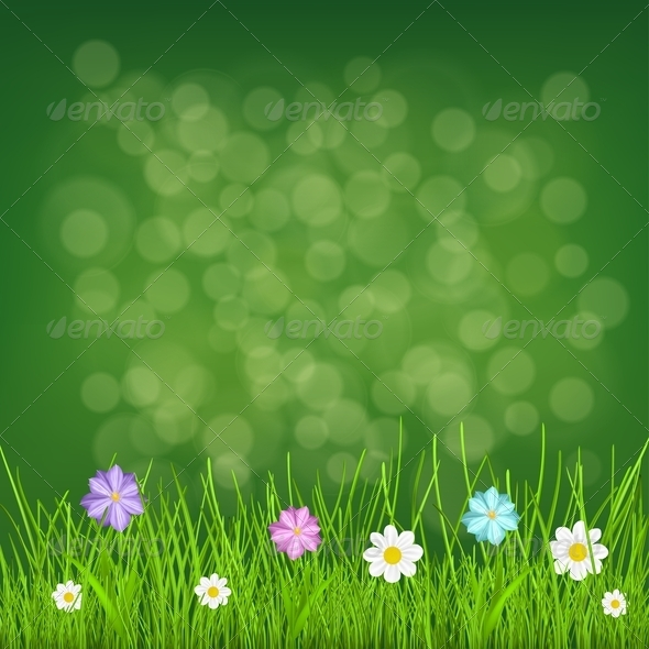 Background with Grass and Flowers - Flowers & Plants Nature
