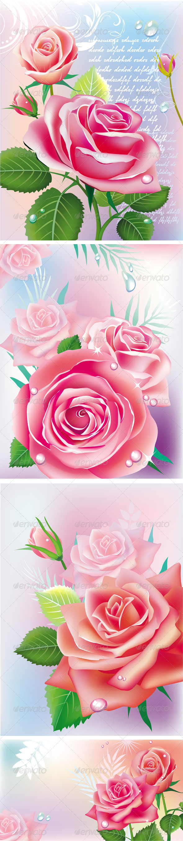 Set of Cards with Roses. - Flowers & Plants Nature
