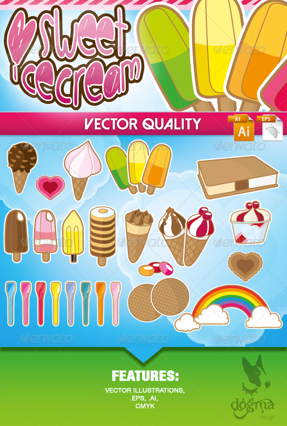 Ice Cream Vector Collection - Food Objects