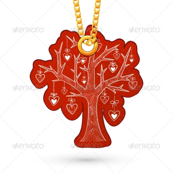 Tree with Hearts Decoration. - Miscellaneous Seasons/Holidays