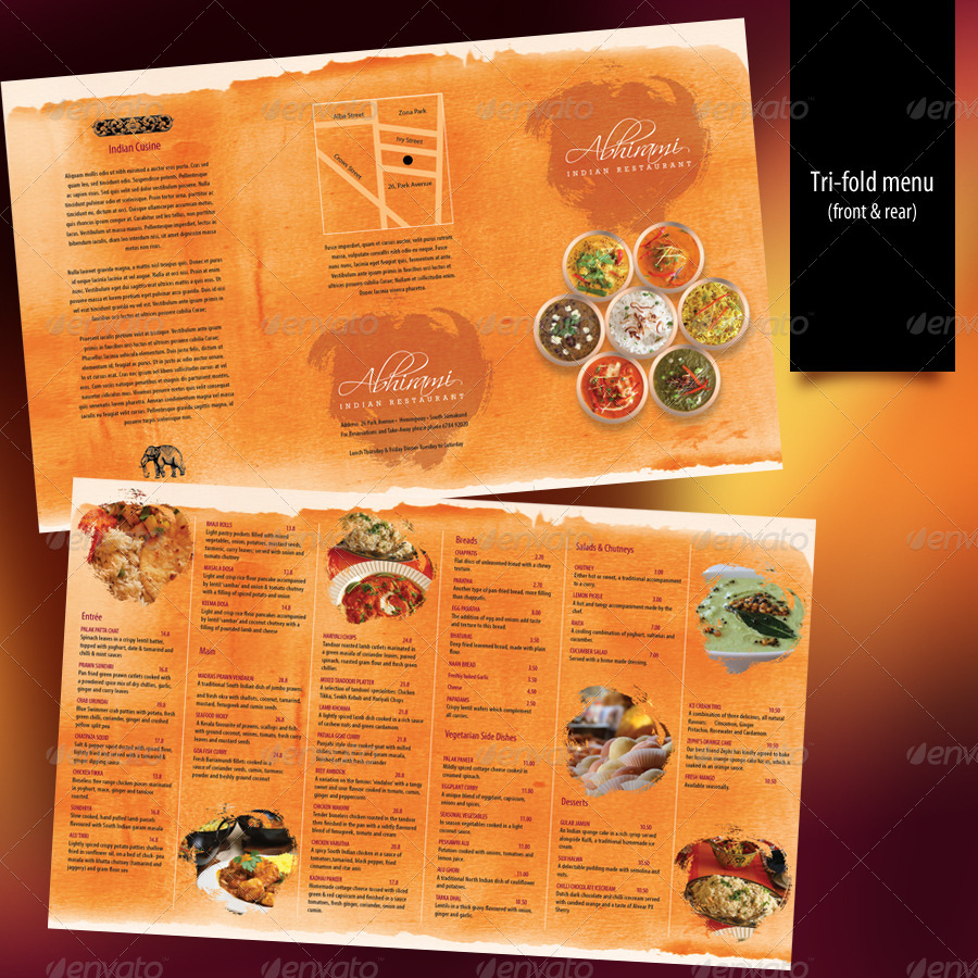 Indian Restaurant Menu Set A4 Trifold By Boben Graphicriver