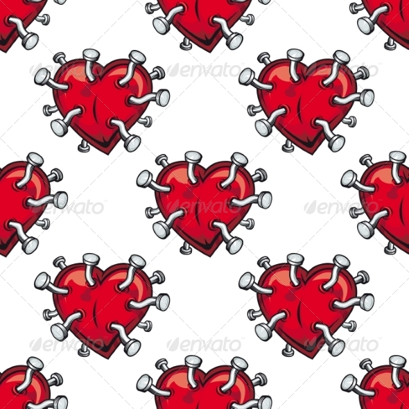 Seamless Hearts Studded with Nails - Patterns Decorative