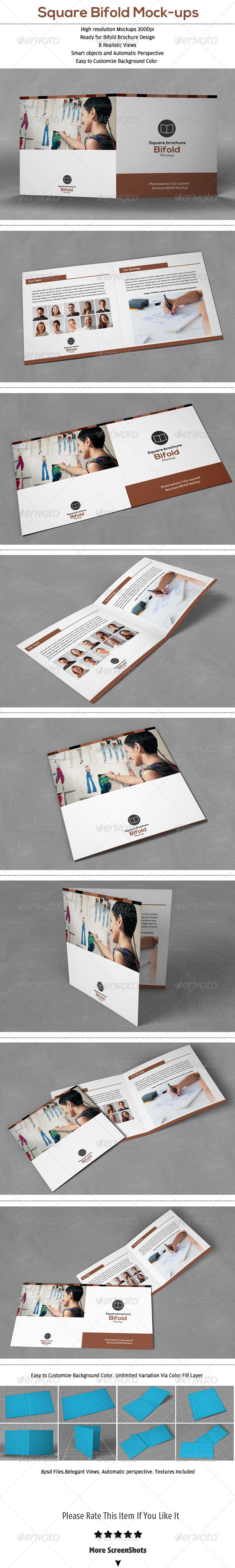 Square Bifold Brochure Mock-Up - Brochures Print