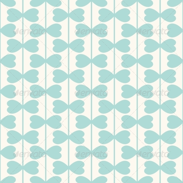 Geometric Seamless Pattern with Hearts Lines - Patterns Decorative