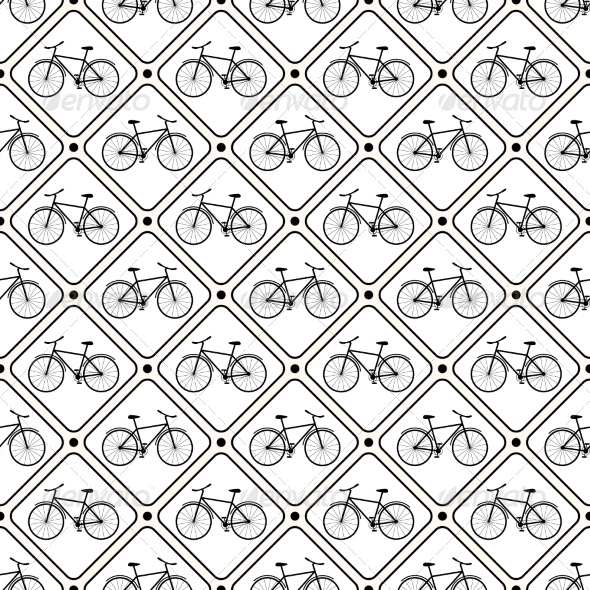 Vector Seamless Retro Bicycle Pattern. - Decorative Symbols Decorative