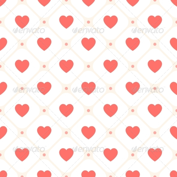Vector Seamless Retro Pattern with Hearts - Patterns Decorative