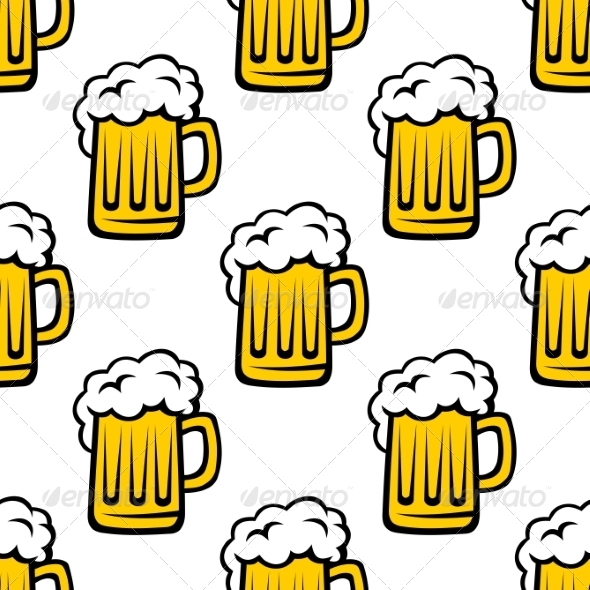 Seamless Pattern of Tankards with Frothy Beer - Patterns Decorative